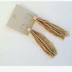 Cute Gold beaded tassel earrings! NWT